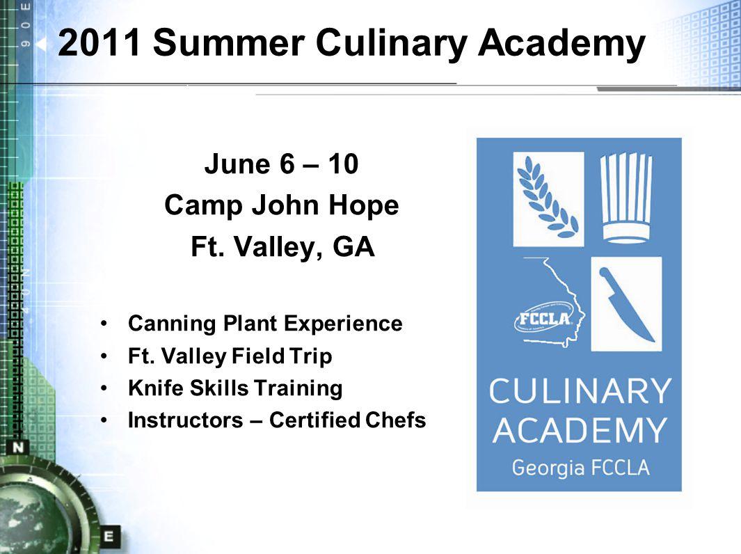2011 Summer Culinary Academy June 6 – 10 Camp John Hope Ft.
