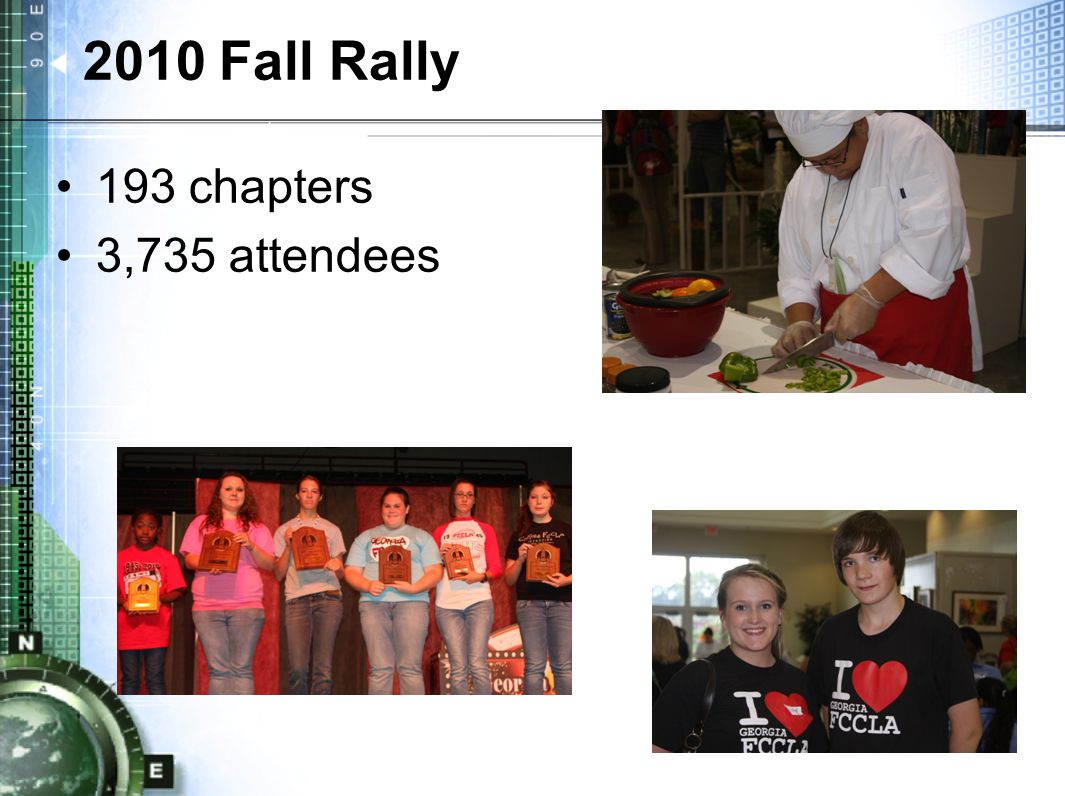 2010 Fall Rally 193 chapters 3,735 attendees