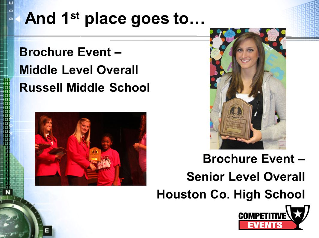 And 1 st place goes to… Brochure Event – Middle Level Overall Russell Middle School Brochure Event – Senior Level Overall Houston Co.