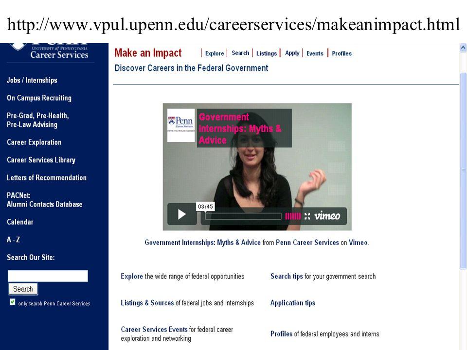 http://www.vpul.upenn.edu/careerservices/makeanimpact.html