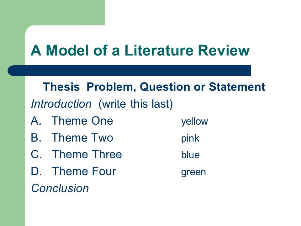 A Model of a Literature Review Thesis Problem, Question or Statement Introduction (write this last) A.