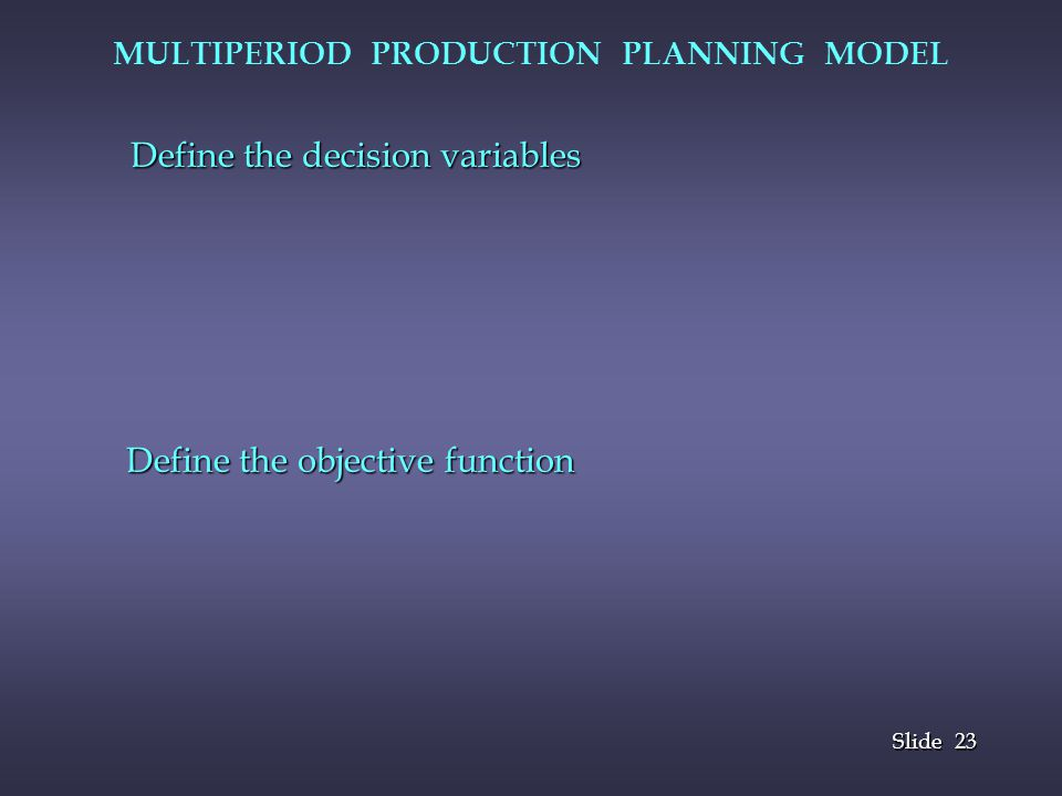 23 Slide MULTIPERIOD PRODUCTION PLANNING MODEL Define the decision variables Define the objective function Define the objective function