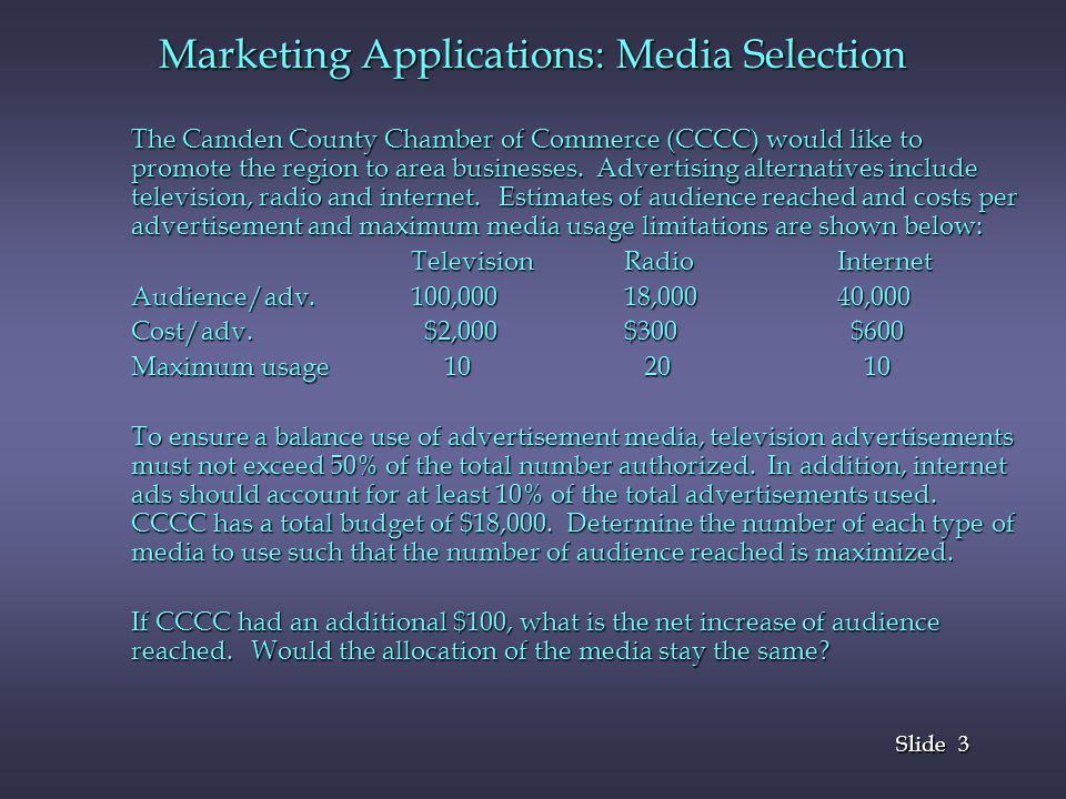 3 3 Slide The Camden County Chamber of Commerce (CCCC) would like to promote the region to area businesses. Advertising alternatives include televisio
