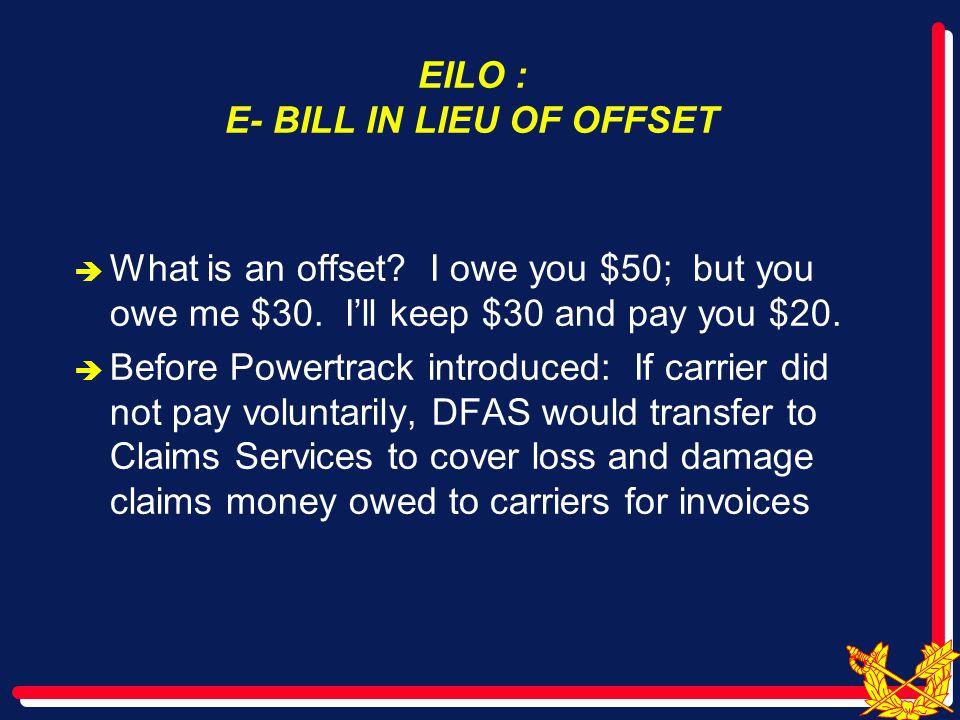 EILO : E- BILL IN LIEU OF OFFSET  What is an offset.