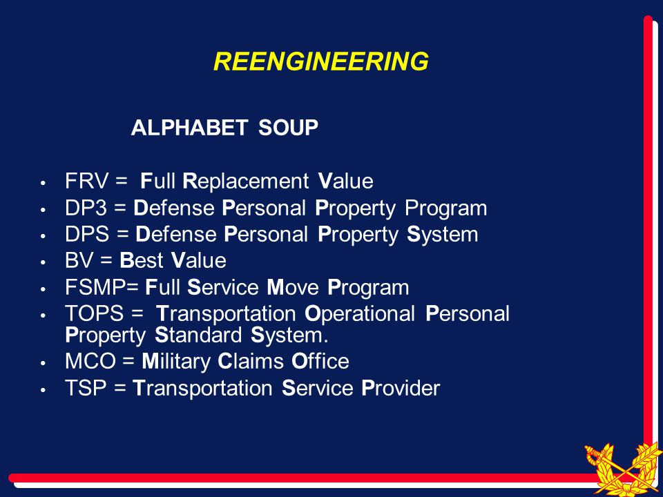 REENGINEERING Full Service Move Program (1998-2001) Task Force Fix (2002) Families First (2003- 2008) FRV in Current System (October 2007-?) Families First renamed DP3 ( Dec 08)