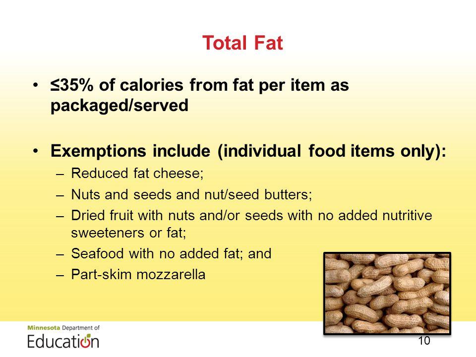 Entrée items, including accompaniments: –≤350 calories –Some NSLP/SBP exemptions allowed Snack items and side dishes: –≤200 calories per item Calories