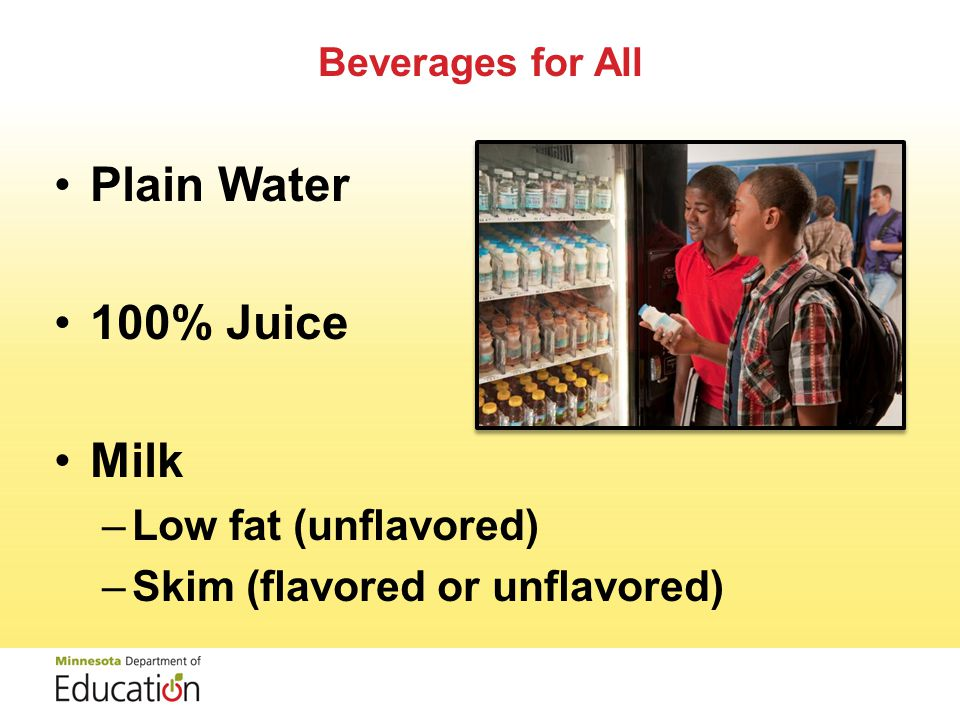 Standards for Beverages –Vary by Grade Level –Identify Specific Types of Beverages Allowed –Address Container /Portion Size 17