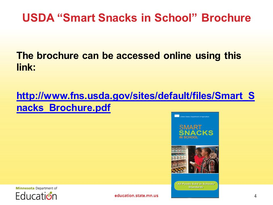 Applicability Smart Snacks nutrition standards went into effect July 1, 2014 The standards apply to: A la carte in the cafeteria In-school stores Snac