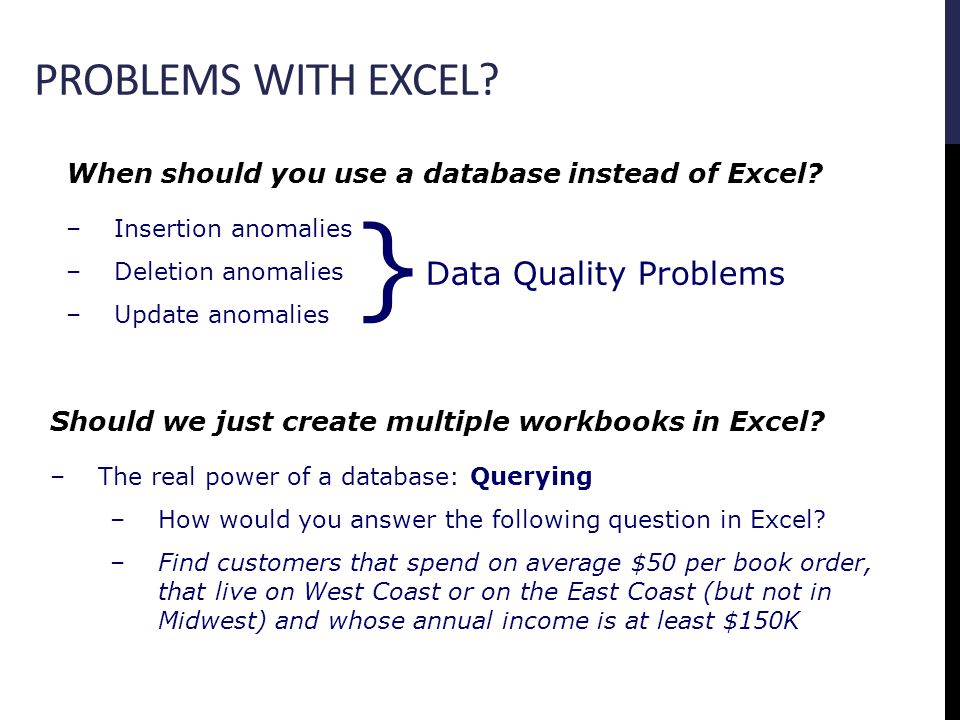 PROBLEMS WITH EXCEL. When should you use a database instead of Excel.