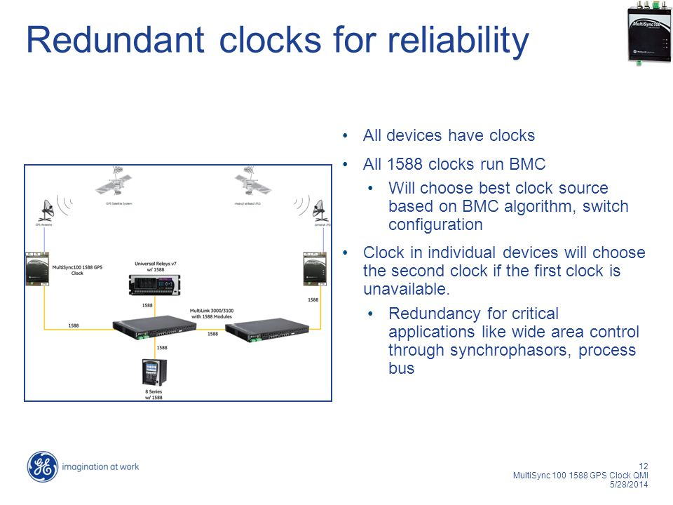 12 MultiSync 100 1588 GPS Clock QMI 5/28/2014 Redundant clocks for reliability All devices have clocks All 1588 clocks run BMC Will choose best clock source based on BMC algorithm, switch configuration Clock in individual devices will choose the second clock if the first clock is unavailable.