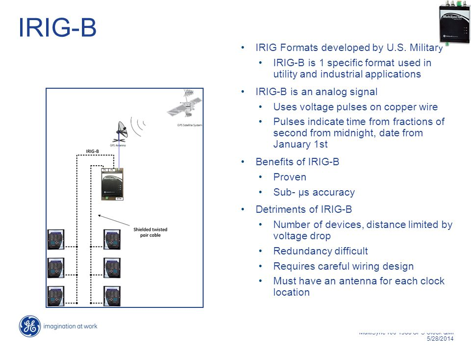 6 MultiSync 100 1588 GPS Clock QMI 5/28/2014 IRIG-B IRIG Formats developed by U.S. Military IRIG-B is 1 specific format used in utility and industrial