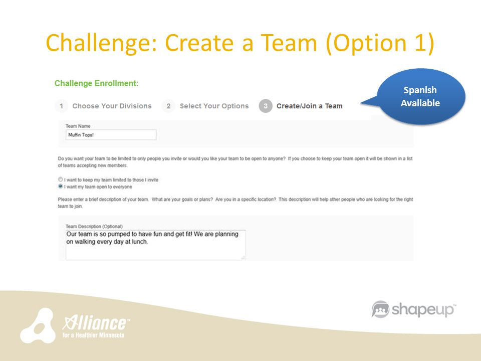 Challenge: Create a Team (Option 1) Spanish Available