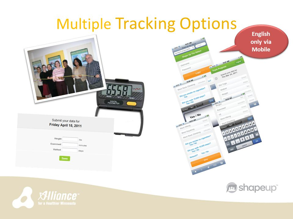 Multiple Tracking Options English only via Mobile