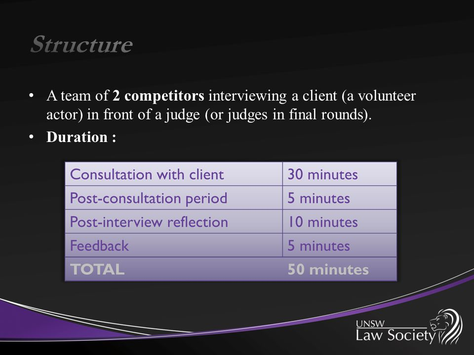 A team of 2 competitors interviewing a client (a volunteer actor) in front of a judge (or judges in final rounds).