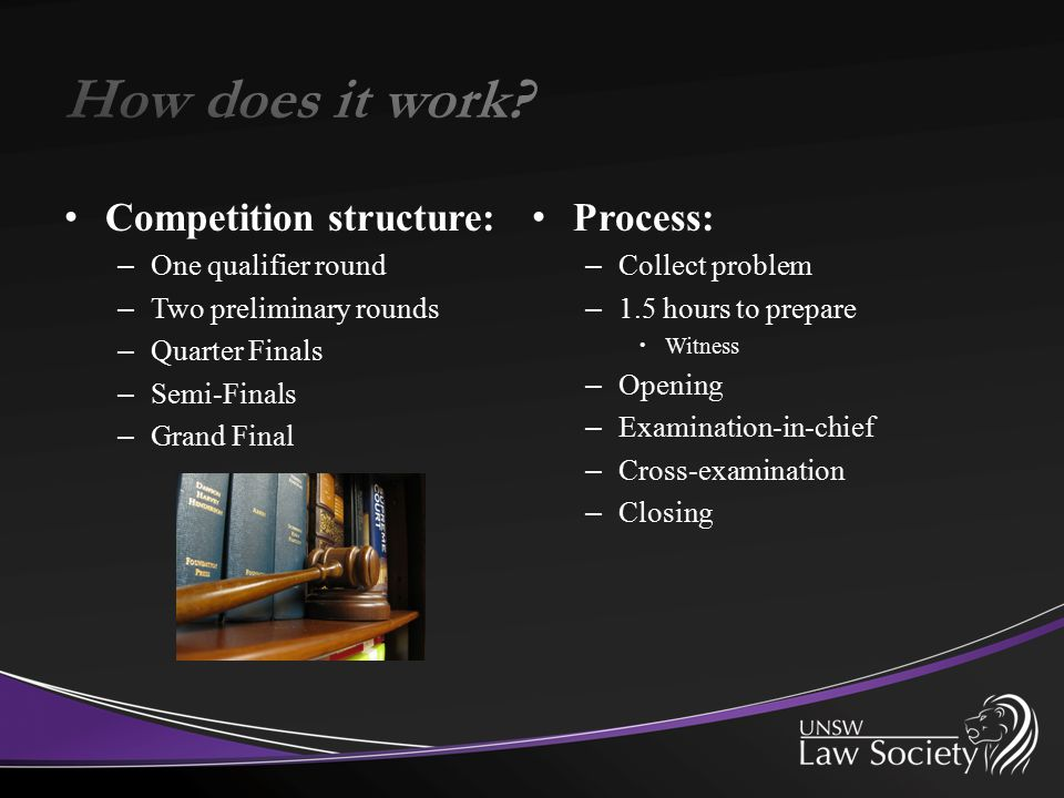 Competition structure: – One qualifier round – Two preliminary rounds – Quarter Finals – Semi-Finals – Grand Final Process: – Collect problem – 1.5 ho