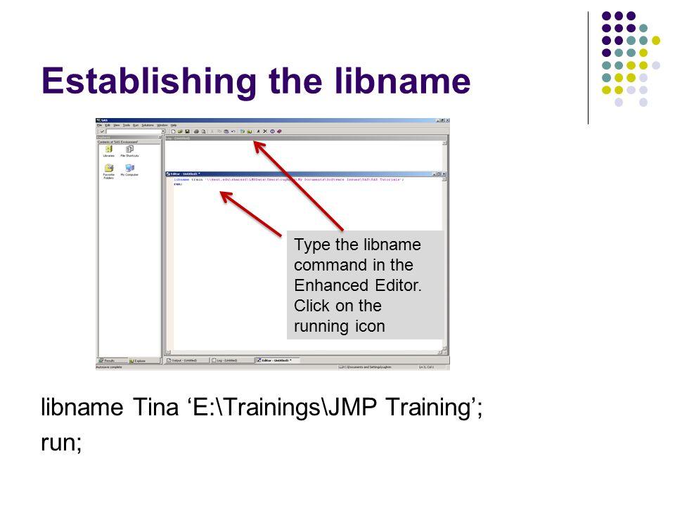 Establishing the libname libname Tina 'E:\Trainings\JMP Training'; run; Type the libname command in the Enhanced Editor.