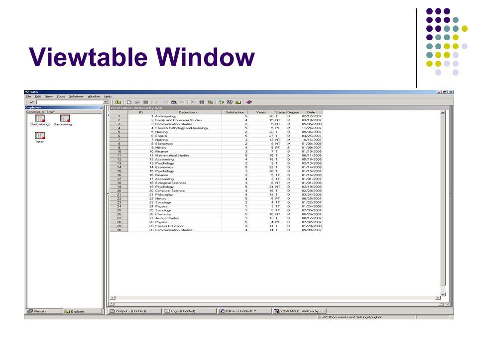 Viewtable Window