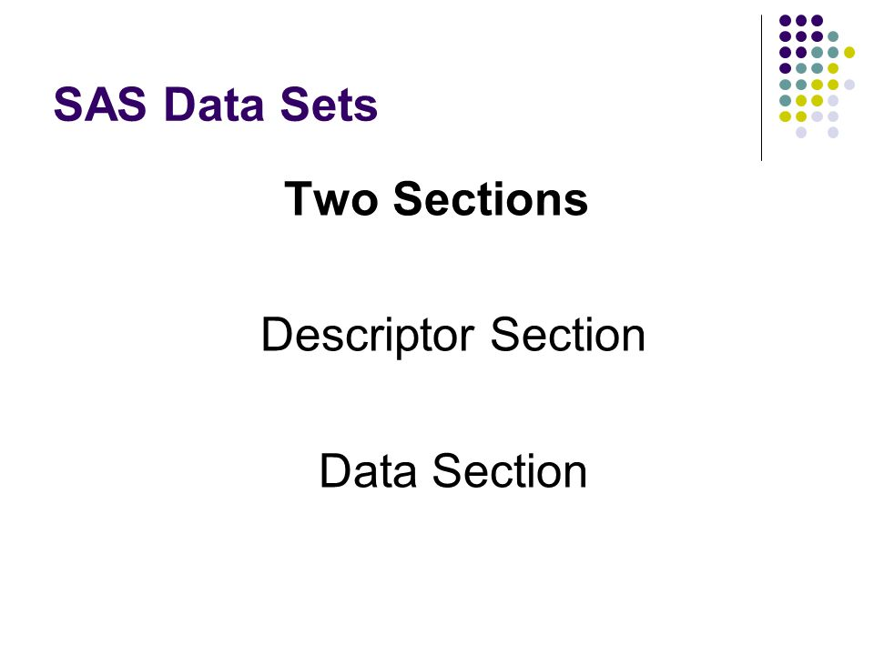 SAS Data Sets Two Sections Descriptor Section Data Section