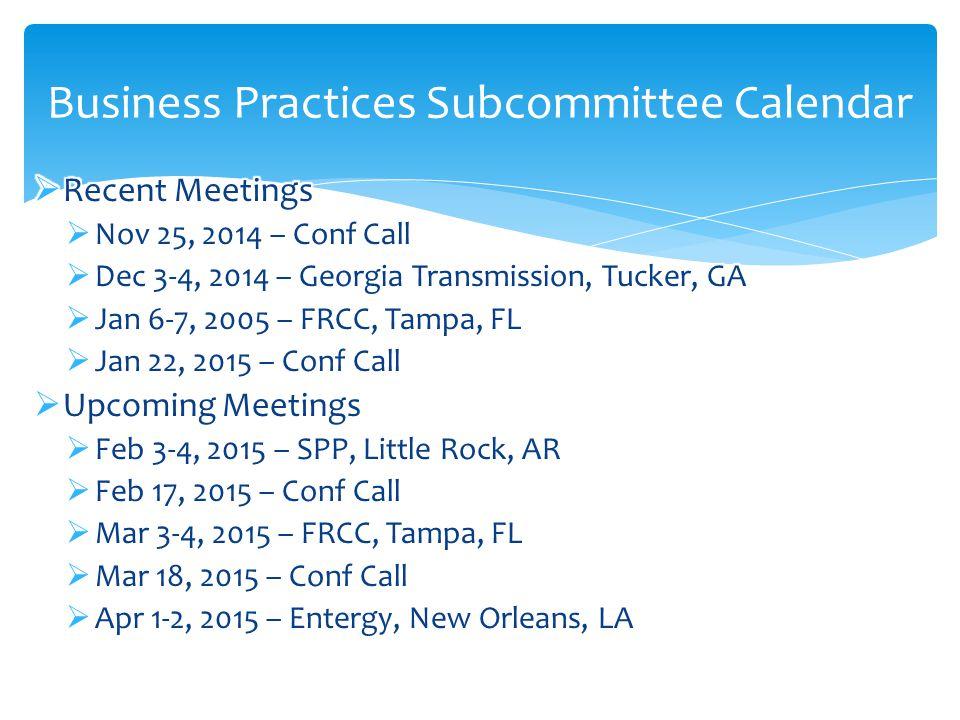 Business Practices Subcommittee Calendar
