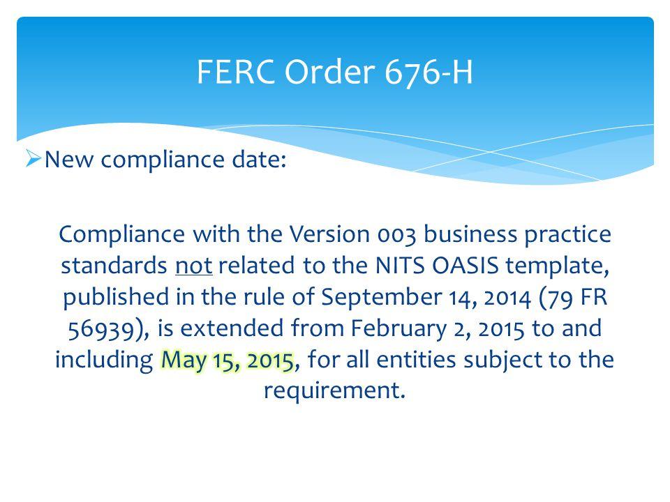 FERC Order 676-H
