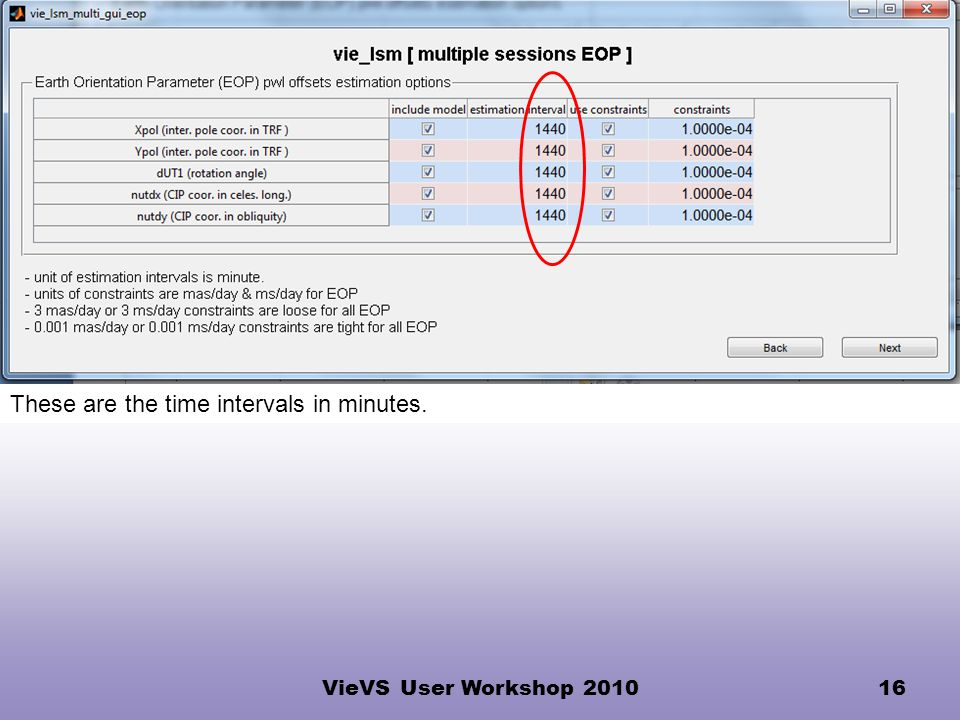 VieVS User Workshop 201016 These are the time intervals in minutes.
