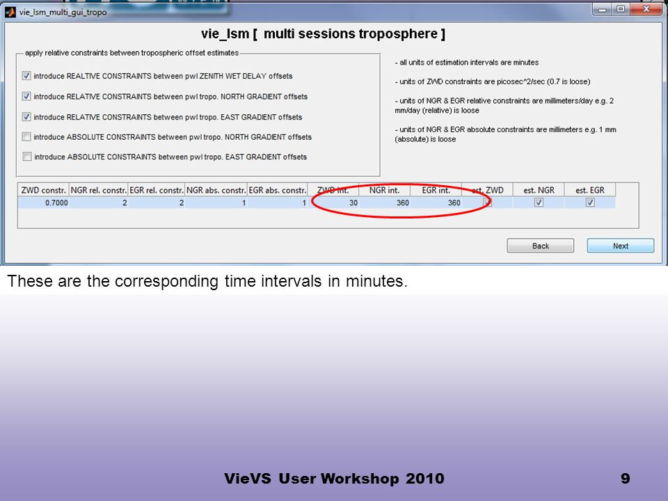 VieVS User Workshop 20109 These are the corresponding time intervals in minutes.