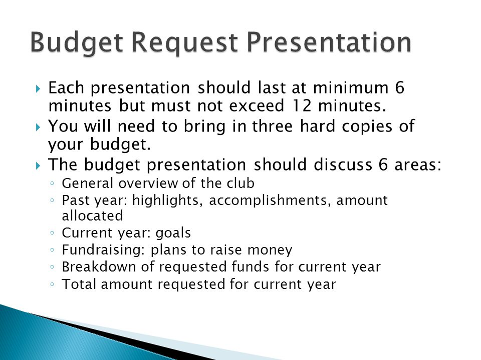  Each presentation should last at minimum 6 minutes but must not exceed 12 minutes.