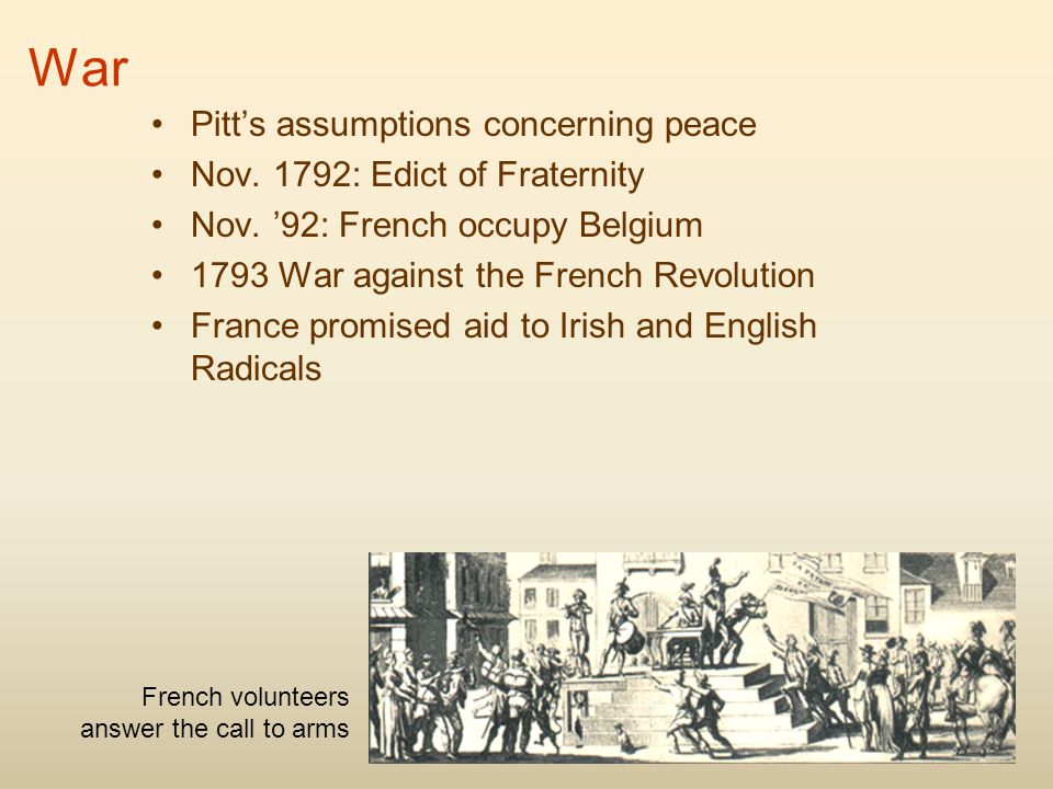 War Pitt's assumptions concerning peace Nov. 1792: Edict of Fraternity Nov. '92: French occupy Belgium 1793 War against the French Revolution France p