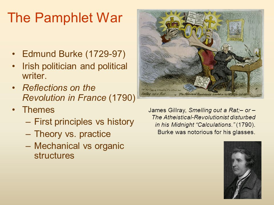 The Pamphlet War Edmund Burke (1729-97) Irish politician and political writer.