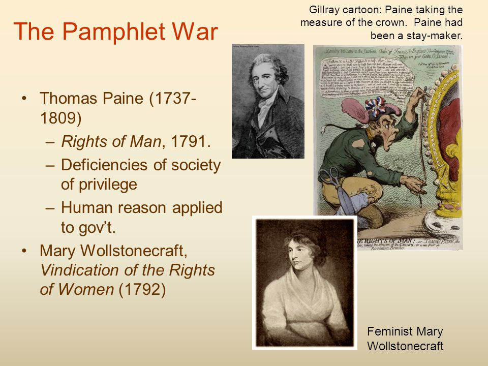 The Pamphlet War Thomas Paine (1737- 1809) –Rights of Man, 1791.