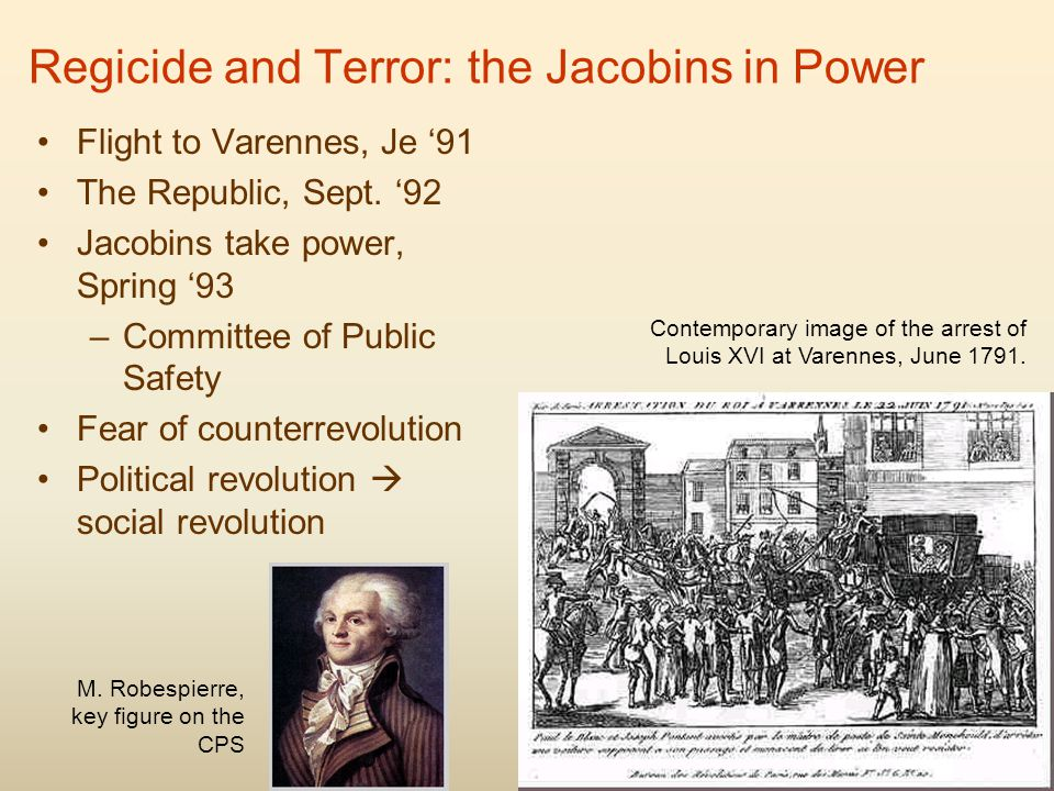 Regicide and Terror: the Jacobins in Power Flight to Varennes, Je '91 The Republic, Sept.