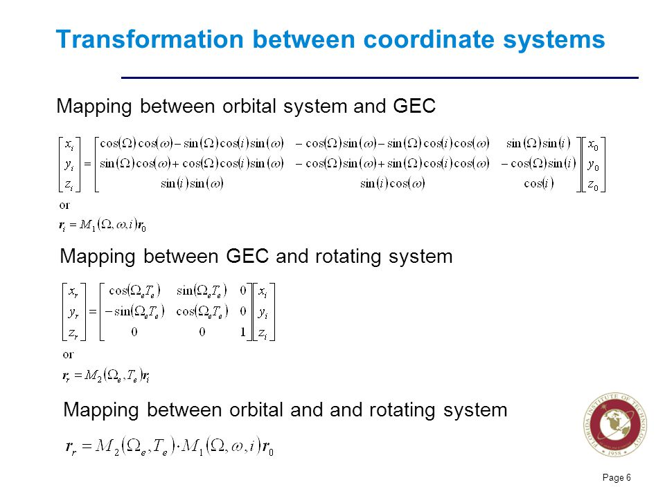 Florida Institute of technologies Transformation between coordinate systems Page 6 Mapping between orbital system and GEC Mapping between GEC and rotating system Mapping between orbital and and rotating system