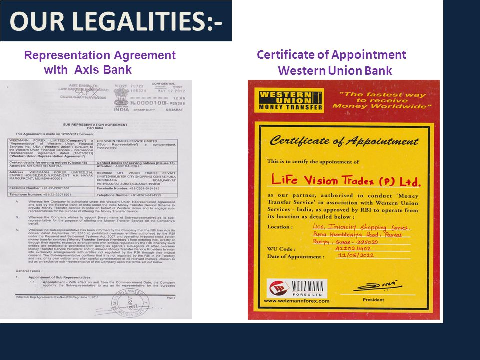 Representation Agreement with Axis Bank Certificate of Appointment Western Union Bank