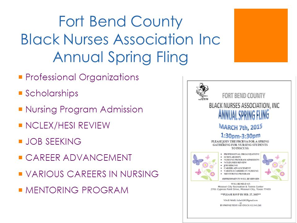 Fort Bend County Black Nurses Association Inc Annual Spring Fling  Professional Organizations  Scholarships  Nursing Program Admission  NCLEX/HESI REVIEW  JOB SEEKING  CAREER ADVANCEMENT  VARIOUS CAREERS IN NURSING  MENTORING PROGRAM