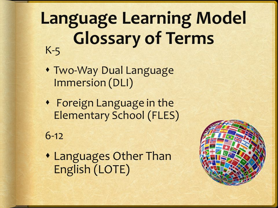 Language Learning Model Glossary of Terms K-5  Two-Way Dual Language Immersion (DLI)  Foreign Language in the Elementary School (FLES) 6-12  Langua