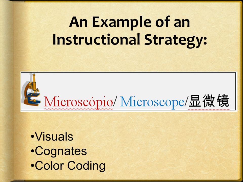 An Example of an Instructional Strategy: Visuals Cognates Color Coding