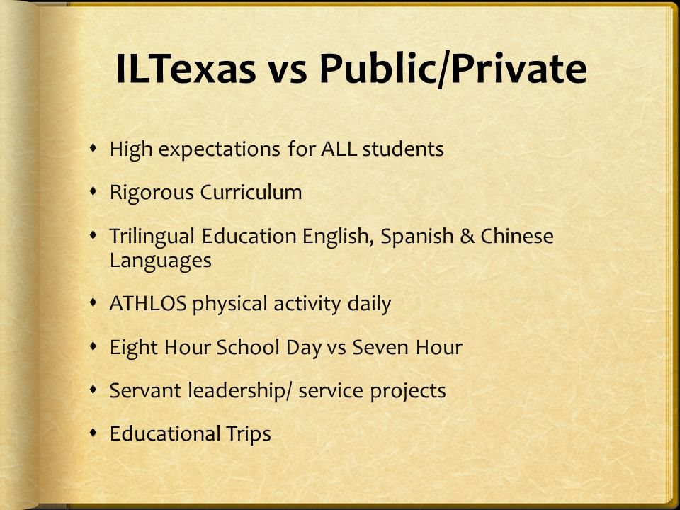ILTexas vs Public/Private  High expectations for ALL students  Rigorous Curriculum  Trilingual Education English, Spanish & Chinese Languages  ATH