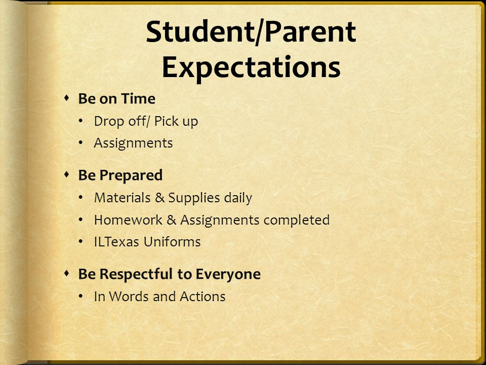 Student/Parent Expectations  Be on Time Drop off/ Pick up Assignments  Be Prepared Materials & Supplies daily Homework & Assignments completed ILTex