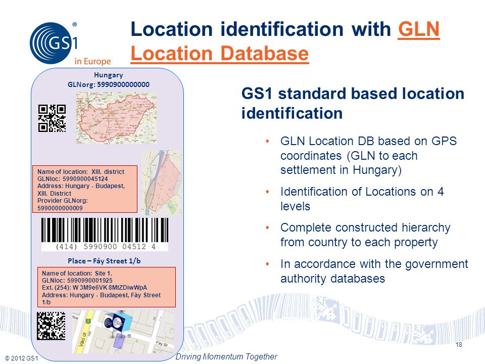 © 2012 GS1 Driving Momentum Together Location identification with GLN Location Database 18 GS1 standard based location identification GLN Location DB based on GPS coordinates (GLN to each settlement in Hungary) Identification of Locations on 4 levels Complete constructed hierarchy from country to each property In accordance with the government authority databases Place – Fáy Street 1/b Name of location: Site 1.