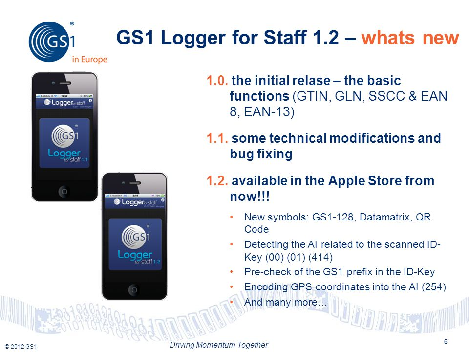 © 2012 GS1 Driving Momentum Together 6 GS1 Logger for Staff 1.2 – whats new 6 1.0.