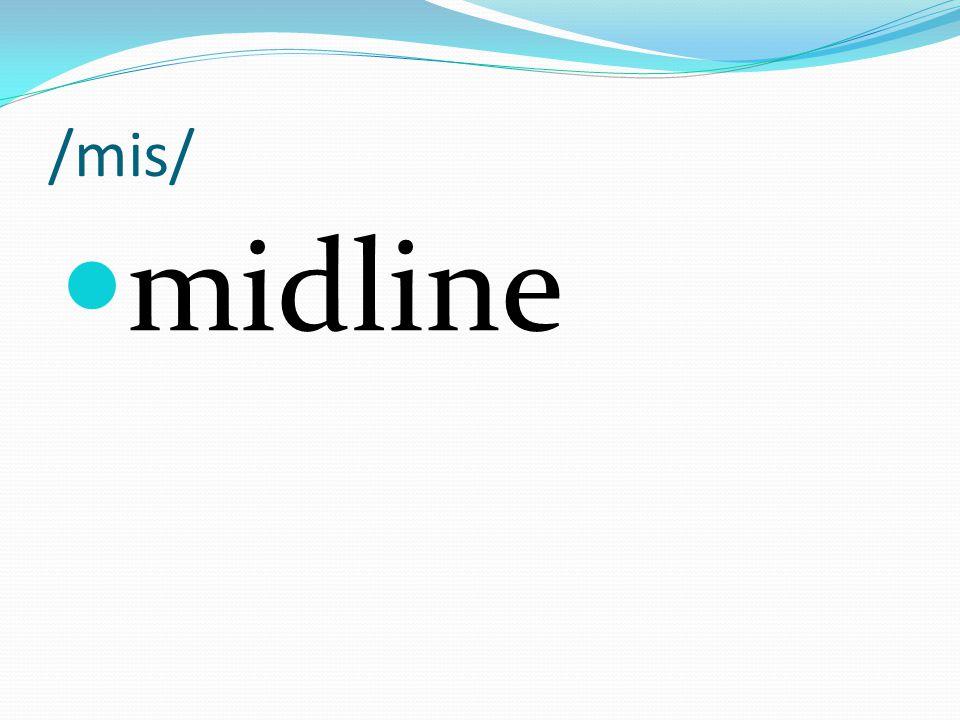 /mis/ midline