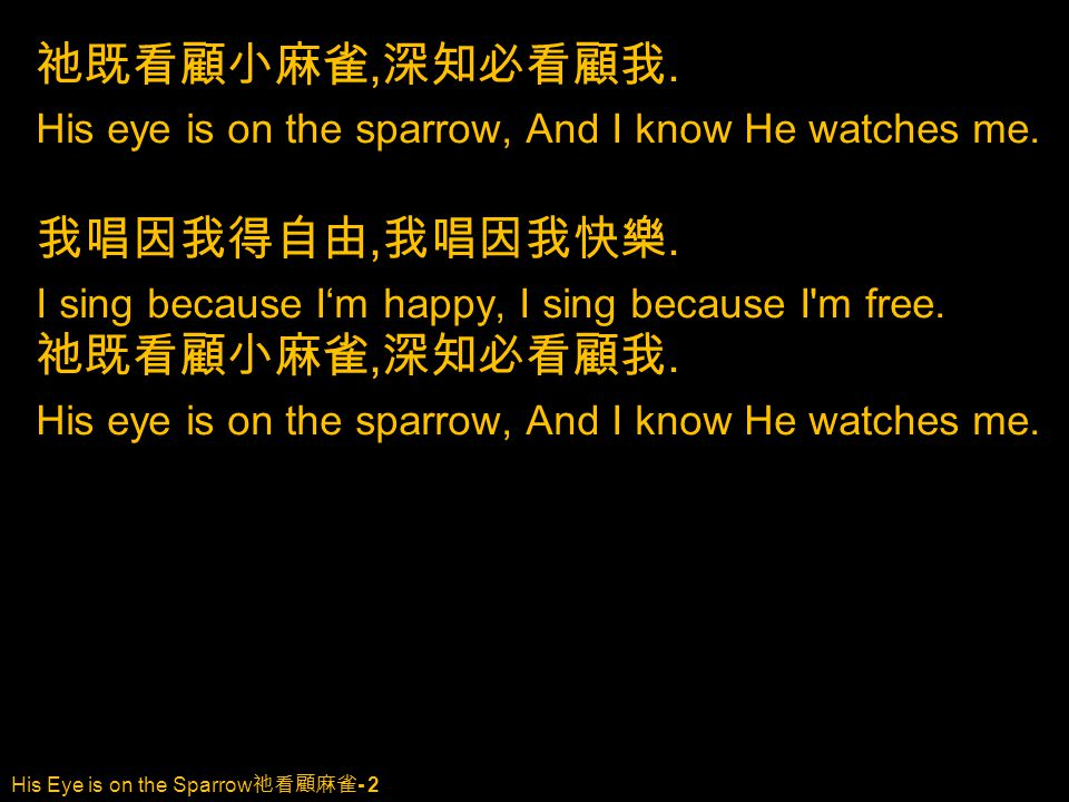 His Eye is on the Sparrow 祂看顧麻雀 - 2 祂既看顧小麻雀, 深知必看顧我. His eye is on the sparrow, And I know He watches me. 我唱因我得自由, 我唱因我快樂. I sing because I'm happy, I