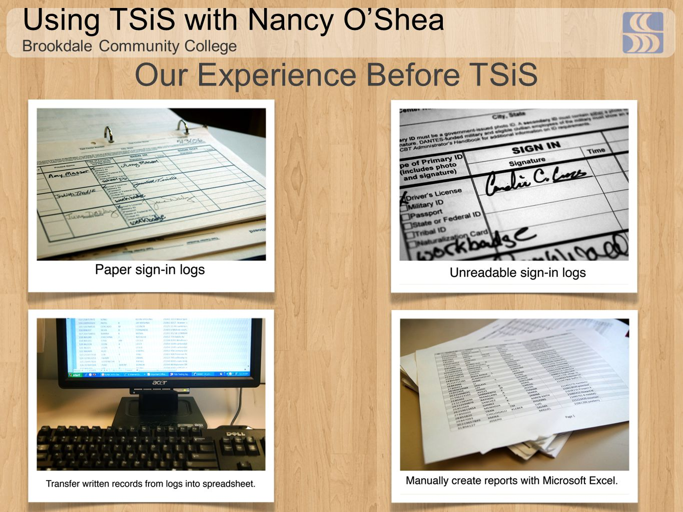 Using TSiS with Nancy O'Shea Brookdale Community College Our Experience Before TSiS