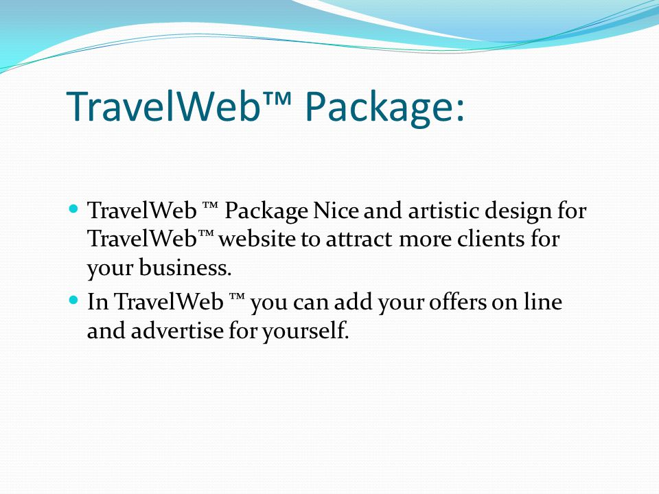 TravelWeb™ Package: TravelWeb ™ Package Nice and artistic design for TravelWeb™ website to attract more clients for your business. In TravelWeb ™ you