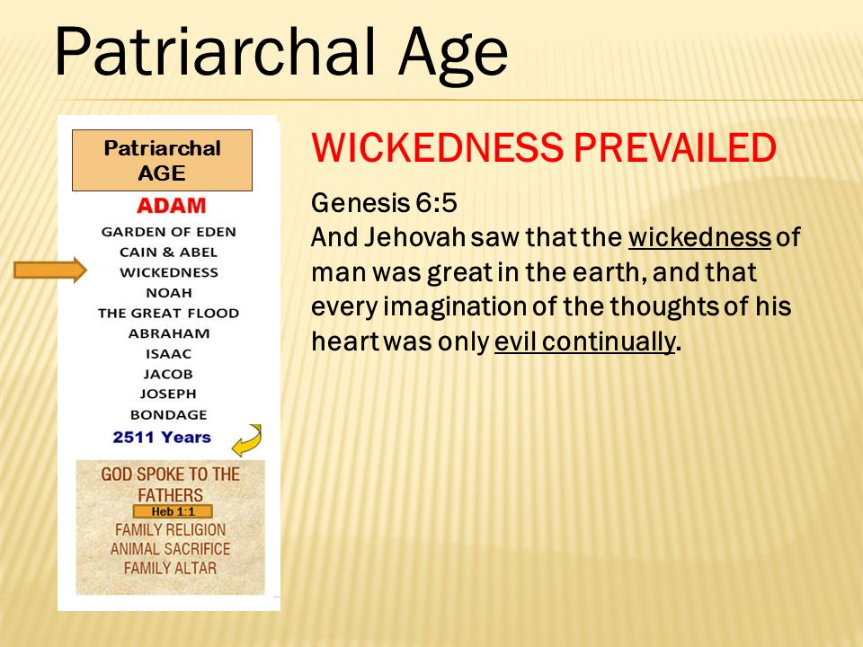 Patriarchal Age WICKEDNESS PREVAILED Genesis 6:5 And Jehovah saw that the wickedness of man was great in the earth, and that every imagination of the thoughts of his heart was only evil continually.