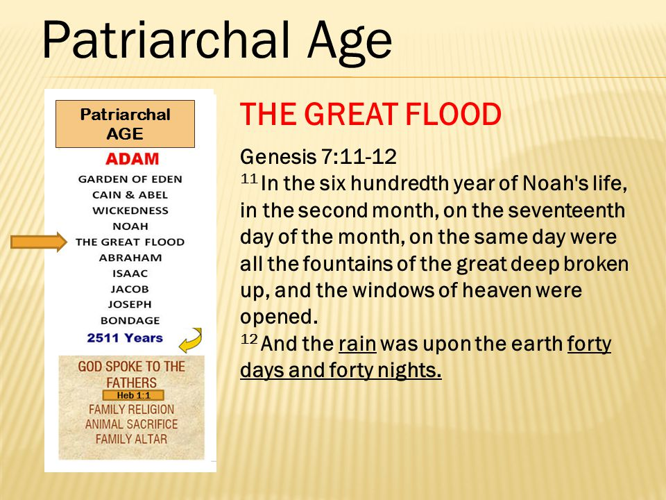Patriarchal Age THE GREAT FLOOD Genesis 7:11-12 11 In the six hundredth year of Noah s life, in the second month, on the seventeenth day of the month, on the same day were all the fountains of the great deep broken up, and the windows of heaven were opened.