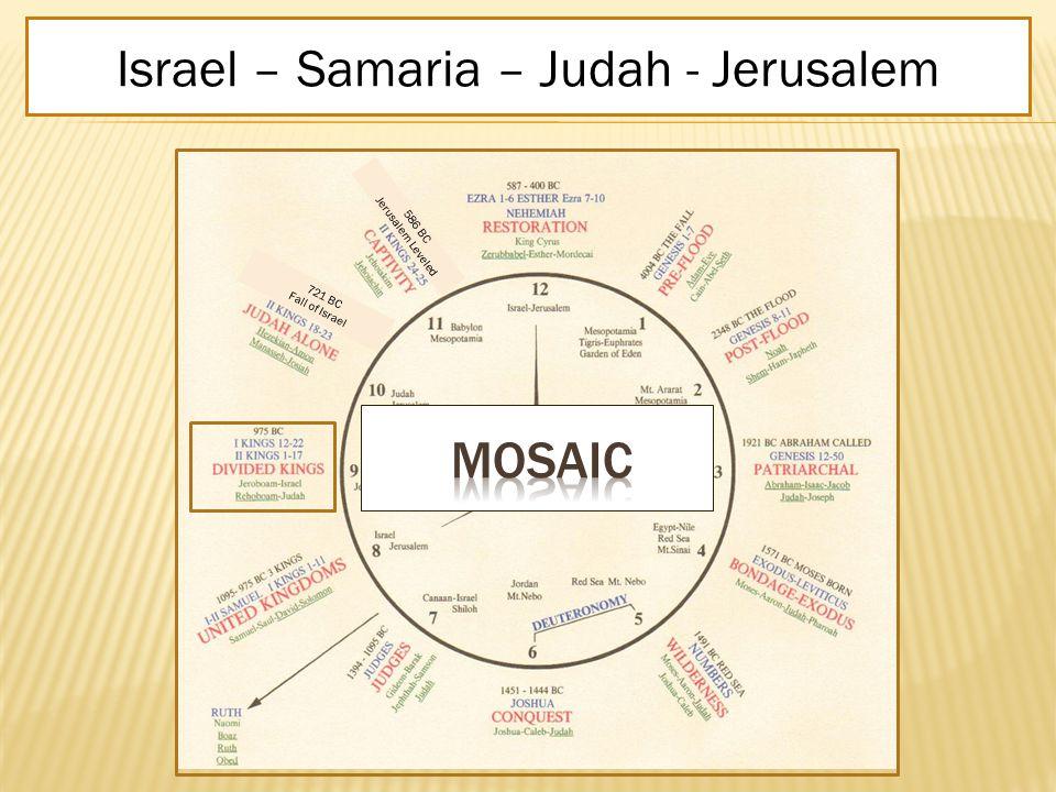 DIVIDED KINGS I Kings 12-22 II Kings 1-17Jeroboam-Israel-Rehoboam-Judah10 Northern Israel 2 Southern Judah975 BCIsrael – Samaria – Judah - Jerusalem 586 BC Jerusalem Leveled 721 BC Fall of Israel