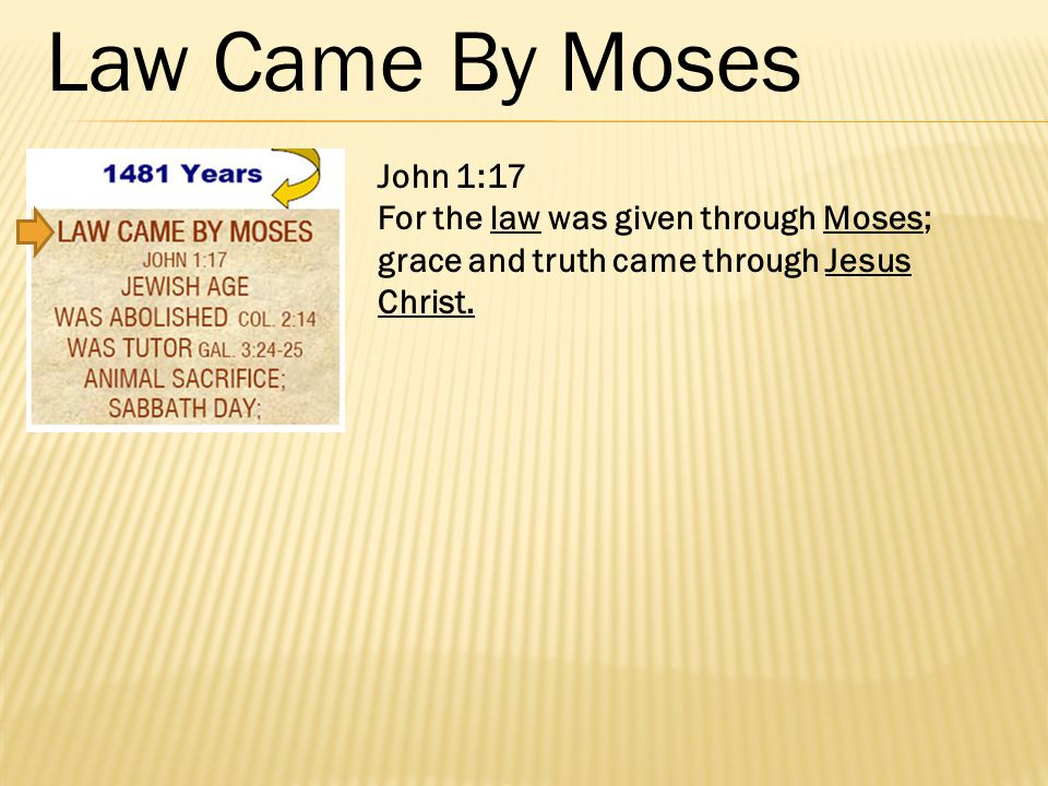 John 1:17 For the law was given through Moses; grace and truth came through Jesus Christ.