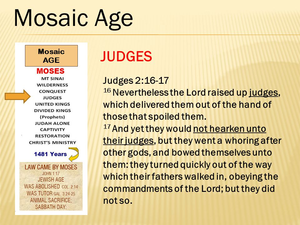 Mosaic Age JUDGES Judges 2:16-17 16 Nevertheless the Lord raised up judges, which delivered them out of the hand of those that spoiled them.