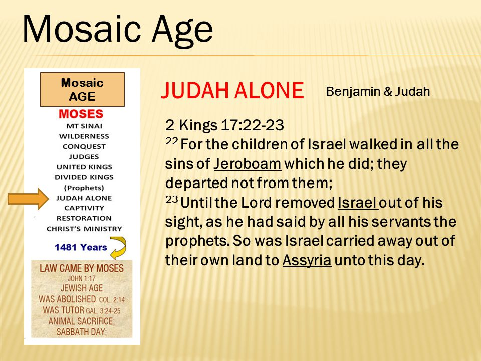 Mosaic Age JUDAH ALONE 2 Kings 17:22-23 22 For the children of Israel walked in all the sins of Jeroboam which he did; they departed not from them; 23